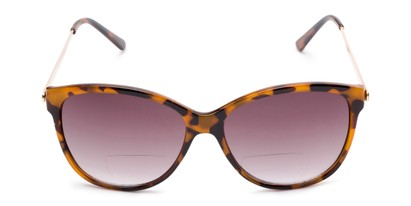 Front of The Posey Bifocal Reading Sunglasses in Light Tortoise/Gold with Smoke