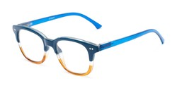 Angle of The Topanga in Blue/Brown, Women's and Men's Retro Square Reading Glasses