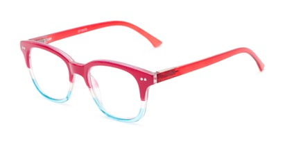 Angle of The Topanga in Red/Blue, Women's and Men's Retro Square Reading Glasses