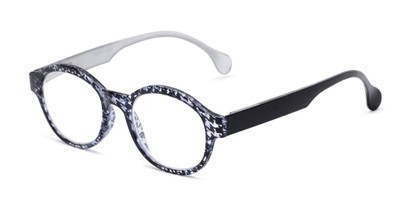 Angle of The Preppy in Black Houndstooth, Women's Round Reading Glasses