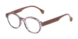Angle of The Preppy in Brown Houndstooth, Women's Round Reading Glasses