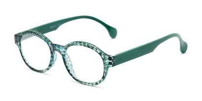Angle of The Preppy in Mint Green Houndstooth, Women's Round Reading Glasses