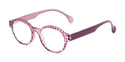 Angle of The Preppy in Pink Houndstooth, Women's Round Reading Glasses