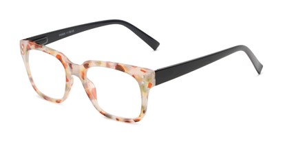 Angle of The Quad in Light Grey Tortoise/Black, Women's and Men's Retro Square Reading Glasses