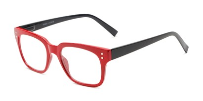 Angle of The Quad in Dark Red/Black, Women's and Men's Retro Square Reading Glasses