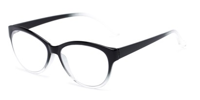 Angle of The Quartz Multifocal Computer Reader in Black/Clear Fade, Women's Cat Eye Reading Glasses