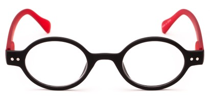 round orange reading glasses