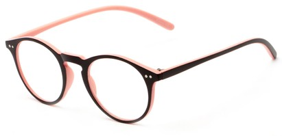 Angle of The Mint in Black and Pink, Women's and Men's Round Reading Glasses