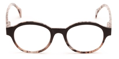 Front of The Quincy in Black/Brown Tortoise Fade