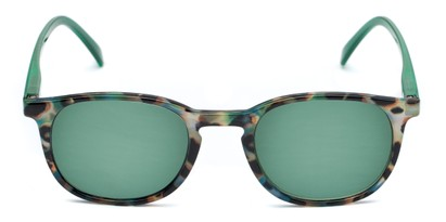 Front of The Samber Reading Sunglasses in Tortoise/Green with Green Lenses