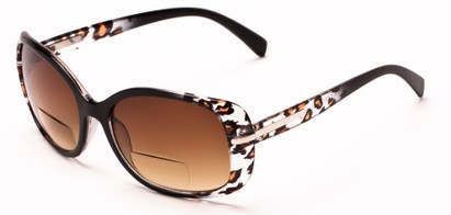 Angle of The Felicity Bifocal Reading Sunglasses in Black Leopard with Amber, Women's Square Reading Glasses