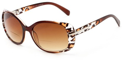 Angle of The Felicity Bifocal Reading Sunglasses in Brown Leopard with Amber, Women's Square Reading Glasses