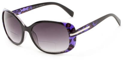 Angle of The Felicity Bifocal Reading Sunglasses in Purple Leopard with Smoke, Women's Square Reading Glasses