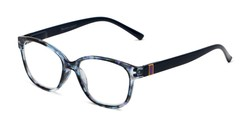 Angle of The Adele in Tortoise/Blue, Women's Retro Square Reading Glasses