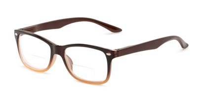 Angle of The Aldgate Bifocal in Brown Fade, Women's and Men's Retro Square Reading Glasses