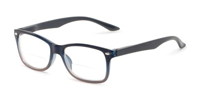 Angle of The Aldgate Bifocal in Navy Blue Fade, Women's and Men's Retro Square Reading Glasses