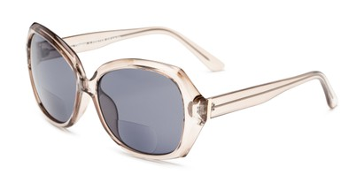 Angle of The Alejandra Sun in Taupe, Women's Square Reading Sunglasses