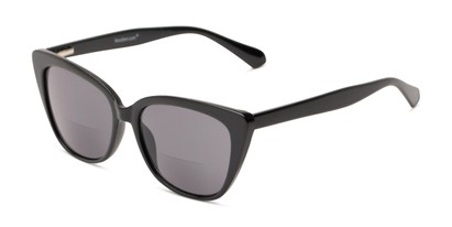 Angle of The Alice Bifocal Reading Sunglasses in Black/ Smoke, Women's Cat Eye Reading Sunglasses