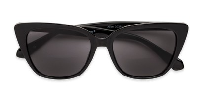 Folded of The Alice Bifocal Reading Sunglasses in Black/ Smoke