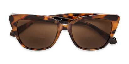 Folded of The Alice Bifocal Reading Sunglasses in Brown Tortoise/ Amber