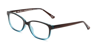Angle of The Alicia in Brown/Blue, Women's Rectangle Reading Glasses