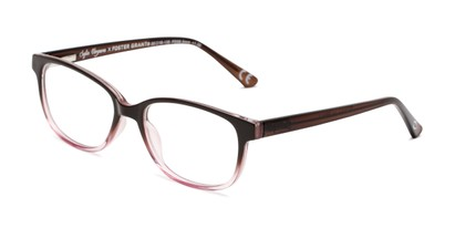 Angle of The Alicia in Brown/Lilac, Women's Rectangle Reading Glasses