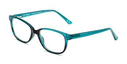 Angle of The Alicia in Teal, Women's Rectangle Reading Glasses