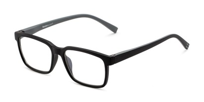 Angle of The Caleb Blue Light Reader in Matte Black/Grey, Men's Rectangle Reading Glasses