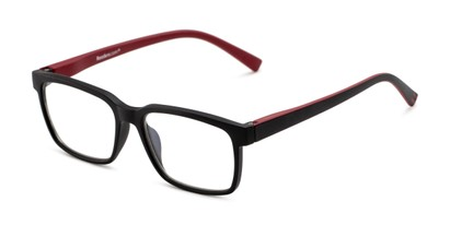 Angle of The Caleb Blue Light Reader in Matte Black/Red, Men's Rectangle Reading Glasses