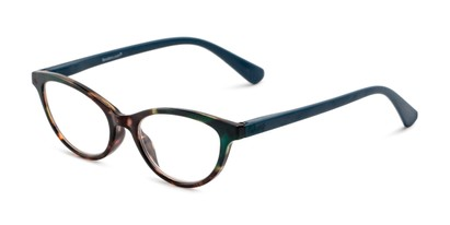 Angle of The Cece in Teal/ Tortoise, Women's Cat Eye Reading Glasses