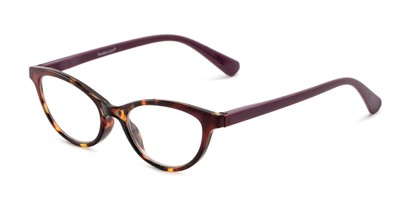 Angle of The Cece in Purple/ Tortoise, Women's Cat Eye Reading Glasses
