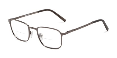 Angle of The Charles Bifocal in Grey, Men's Square Reading Glasses