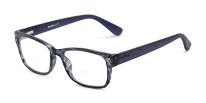 Angle of The Huxley Bifocal in Matte Blue/Grey Tortoise, Men's Retro Square Reading Glasses