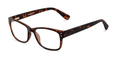 Angle of The Huxley Bifocal in Matte Brown Tortoise, Men's Retro Square Reading Glasses