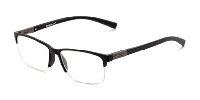 Angle of The Mitchell in Matte Black, Women's and Men's Square Reading Glasses