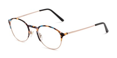 Angle of The Samantha in Blue Tortoise/Gold, Women's Round Reading Glasses