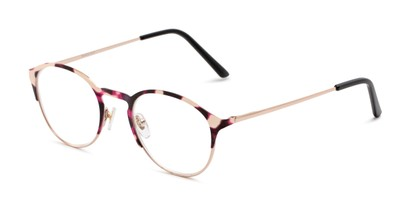 Angle of The Samantha in Pink Tortoise/Gold, Women's Round Reading Glasses