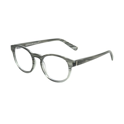 Angle of The Shane Blue Light e.Glasses in Charcoal Grey, Women's and Men's Round Computer Glasses
