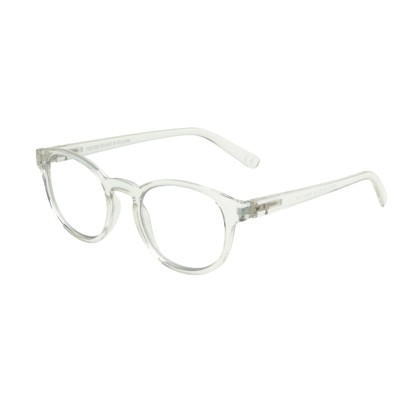 Angle of The Shane Blue Light e.Glasses in Clear, Women's and Men's Round Computer Glasses
