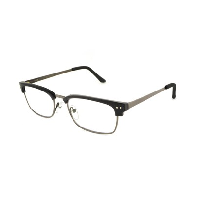 Angle of The Wally Blue Light e.Readers in Black/Gunmetal Grey, Men's Rectangle Computer Glasses