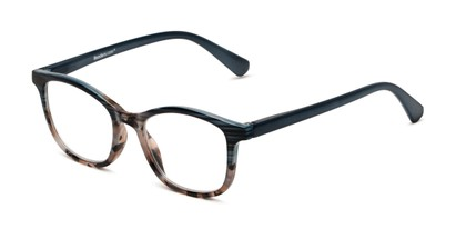 Angle of The Bayswater in Blue/Tortoise, Women's Retro Square Reading Glasses