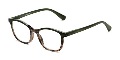 Angle of The Bayswater in Olive Green/Tortoise, Women's Retro Square Reading Glasses