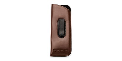 Front of Belt Clip Pouch in Brown