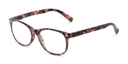 Angle of The Billy Blue Light Reader in Purple Tortoise, Women's and Men's Retro Square Computer Glasses