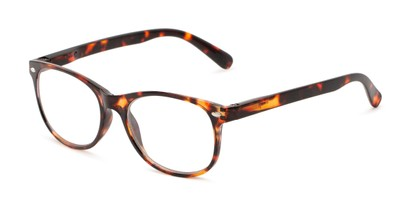 Angle of The Billy Blue Light Reader in Brown Tortoise, Women's and Men's Retro Square Computer Glasses