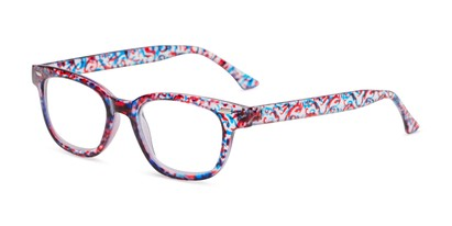 Angle of The Blanche in Red Patterned, Women's Retro Square Reading Glasses