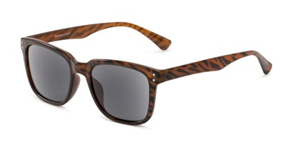 Angle of The Borough Reading Sunglasses in Brown Stripe with Smoke, Women's and Men's Retro Square Reading Sunglasses