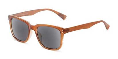 Angle of The Borough Reading Sunglasses in Brown with Smoke, Women's and Men's Retro Square Reading Sunglasses