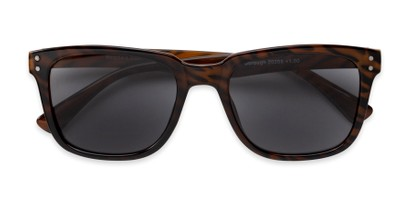 Folded of The Borough Reading Sunglasses in Brown Stripe with Smoke