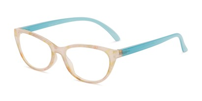 Angle of The Callie Computer Reader in Yellow/Blue with Yellow, Women's Cat Eye Reading Glasses